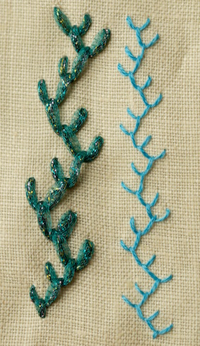 Double feather stitch worked in different threads