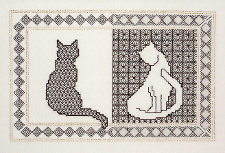 Blackwork cats needlecase