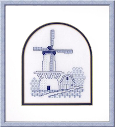 Blackwork windmill in blues
