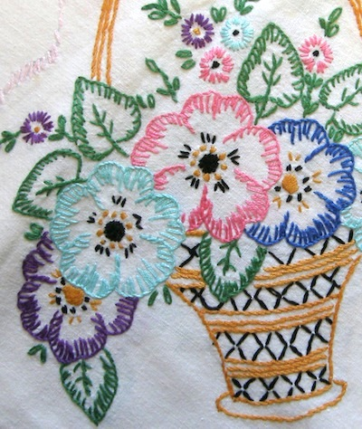 Basket of flowers worked in blanket stitch