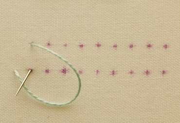 Example of blanket stitch worked in a hoop - step 2