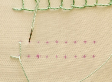Example of blanket stitch worked in a hoop - step 3
