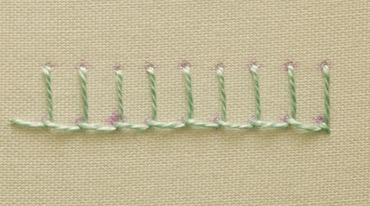 Blanket stitch example, stitched in a hoop