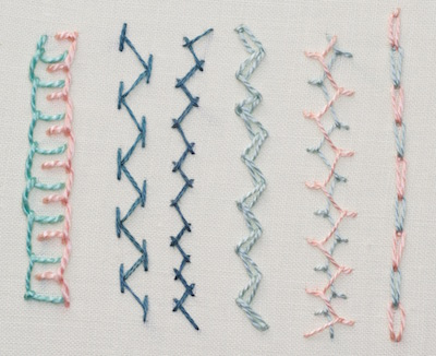 Hand embroidery stitches for borders and wider lines