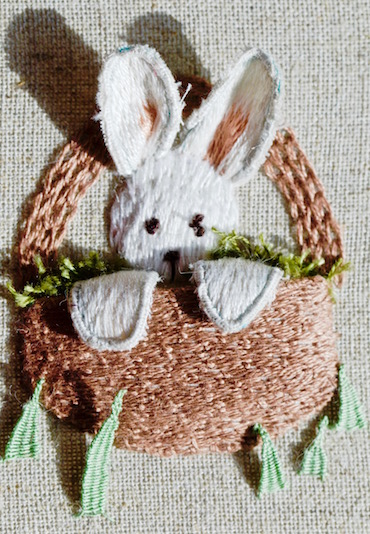 Stumpwork bunny in basket
