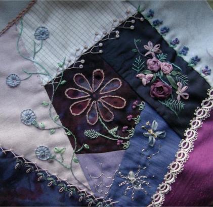 blue-purple crazy quilt block