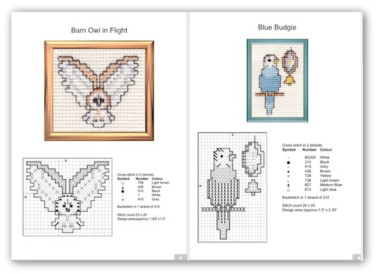 Cross stitch owls and other birds