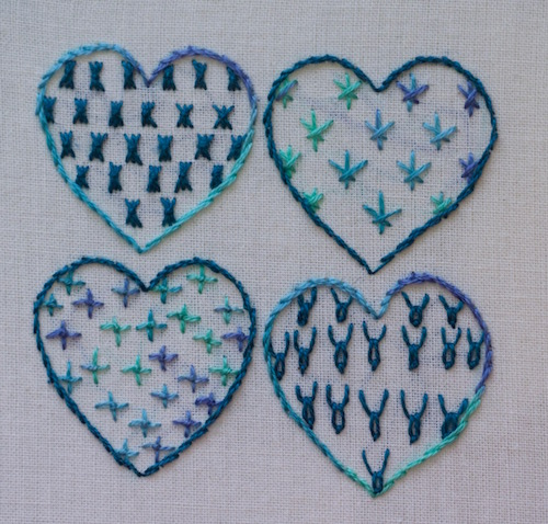 Heart sampler showing various filling stitches