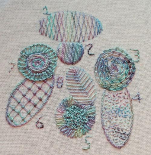 Sampler showing many different filling stitches