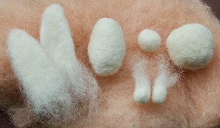 Needle felted shapes for the bunny