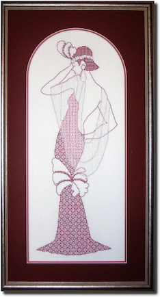 Pearl art deco lady in blackwork