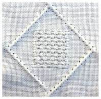 simple pulled work stitch sample