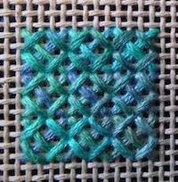 Rice stitch sample on canvas