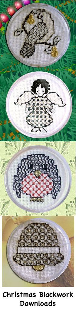 Blackwork christmas designs suitable for cards or coasters