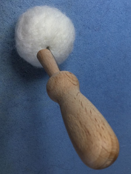 Needle felted ball in progress