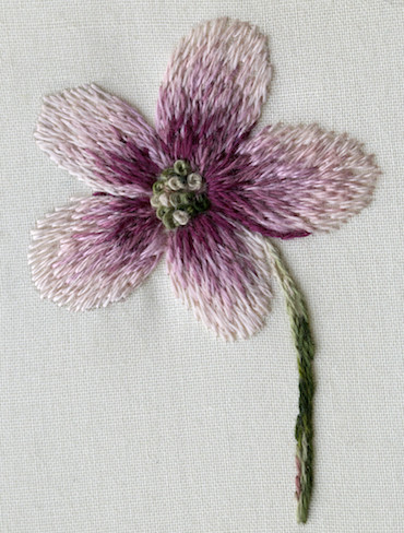 thread painting flower sample