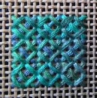 Rice stitch sample on canvas