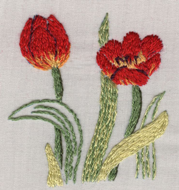 Split stitch floral design