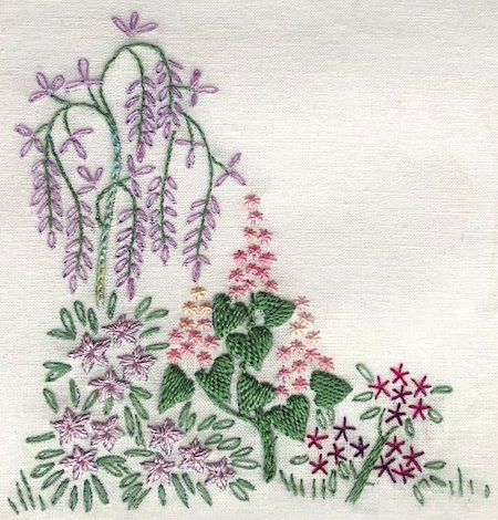 Floral embroidery using stem stitch